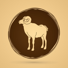 Sheep with big horn standing designed on grunge circle background graphic vector.
