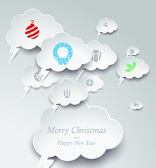 white christmast card with bubble speech