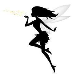 silhouette of flying fairy with flower for you design