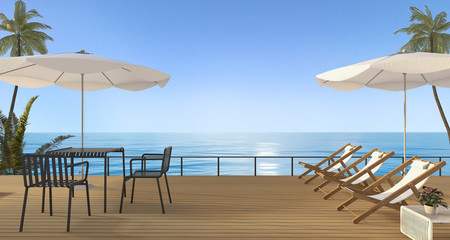 3d rendering nice beach furniture set with bench on wooden terrace near sea in the evening