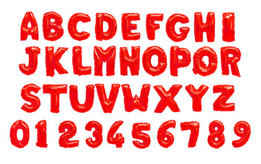 English alphabet and numerals from red balloons