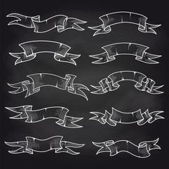 Hand drawn chalk vintage ribbons set on blackboard. Vector illustration
