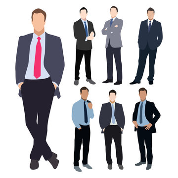Business man silhouette vector set