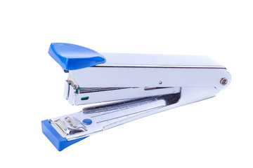 Office tool, blue staplers on white background.