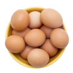 Egg, Brown Eggs in Yellow Plate, Top View, Isolated on White Bac