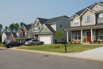 modern residential houses exterior in community