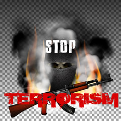 Stop terrorism in the fire smoke and skull in the mask