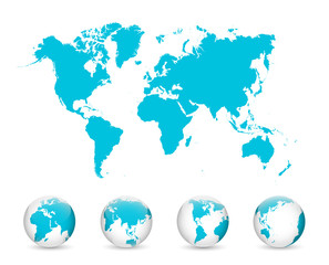 Wall Mural - World Map and Globe Detail Vector Illustration, EPS 10.