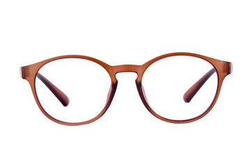 Modern fashionable spectacles isolated on white background, Perf