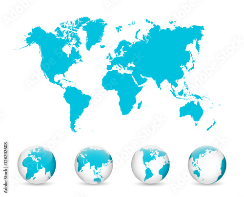 Wall mural World Map and Globe Detail Vector Illustration, EPS 10.