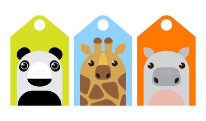 Cartoon animals tags set