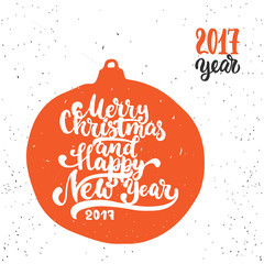 Merry Christmas and Happy new year - lettering holiday calligraphy phrase. Fun brush ink typography illustration for greeting card, t-shirt print, poster design