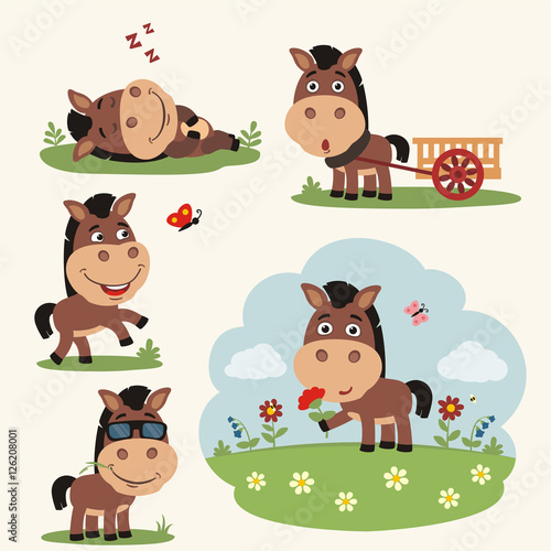 Vector set funny horse in different poses on summer meadow with flowers. Collection horse in cartoon style.