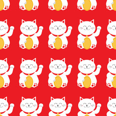 Lucky cat holding golden coin. Japanese Maneki Neco kitten waving hand paw. Seamless Pattern Cute character. Wrapping paper, textile template. Red background. Flat design.