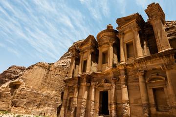 The Monastery Ad-Deir, ancient Nabataean city Petra, Jordan. Ancient temple in Petra