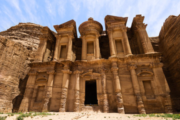 The Monastery Ad-Deir, ancient Nabataean city Petra, Jordan. Ancient temple in Petra