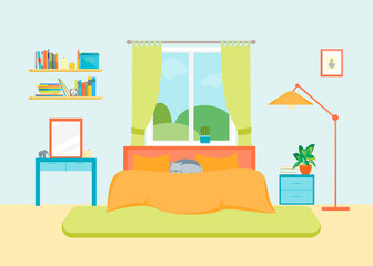 Interior Classic Bedroom with Furniture and Window. Vector