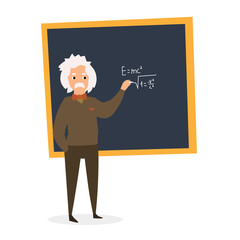 Scientist at the Blackboard. Vector