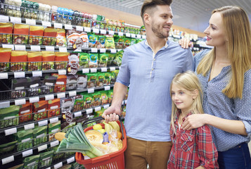 Parents with daughter in grocery store