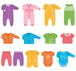 Set children's clothes for baby boys and girls in flat style. Collection of colorful clothing on white background. Isolated objects. Vector illustration.
