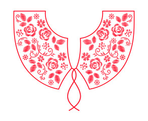 Wall Mural - Neck line embroidery design with flowers vector