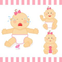 Cute cartoon small pink baby girl vector illustration