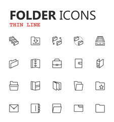 Simple modern set of folders and archives thin line icons. Premium symbol collection. Vector illustration.