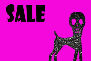 dog with a skull logo in rhinestones with sale