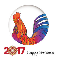 Rooster. Colored portrait in the circle. Caption:  2017 Happy New Year!