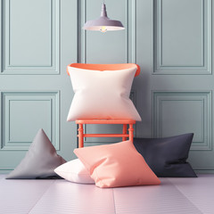 Mockup pillows in the interior. 3d