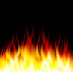 Burn flame fire on black background