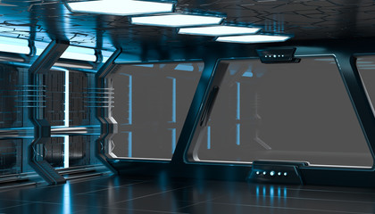 Spaceship blue interior 3D rendering elements of this image furn