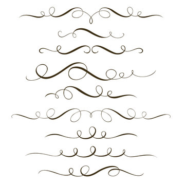 Set of decorative calligraphic elements, swirl dividers and ornaments for your design and page decor.
