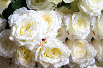 Artificial flowers, Artificial white roses background.