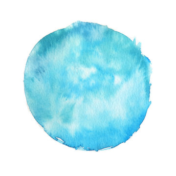 Large watercolor stain with paint texture isolated on white background. Saturated turquoise color. Hand drawn backdrop for logo, banner and print design.