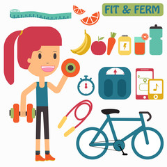 Women healthy life fit and firm vector illustrator concept.