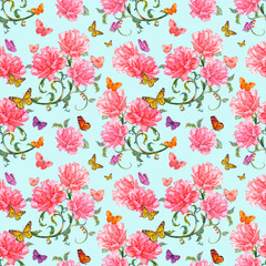 cute seamless texture with roses and baroque floral scroll filig