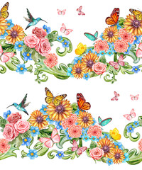 collection seamless borders with floral fantasy. watercolor pain