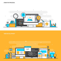 Flat line color concept- Creative Process and Web Development- C