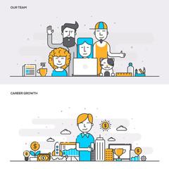 Flat line color concept- Our Team-Color