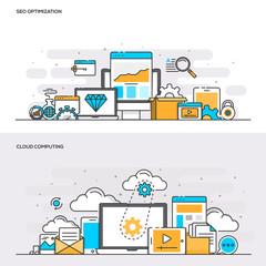 Flat line color concept- Seo and Cloud computing-Color