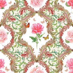 fashion seamless texture with fantasy flora and rose in frame. w