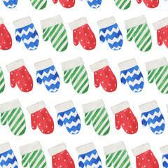 Seamless watercolor pattern: Merry Christmas, pattern mittens