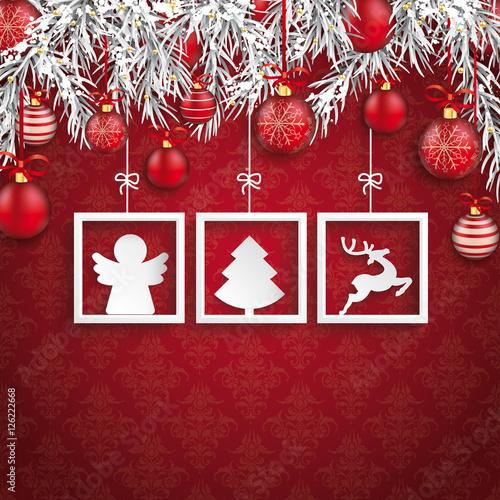 weihnachten 3 weihnachtssymbole unter dem verschneiten. Black Bedroom Furniture Sets. Home Design Ideas