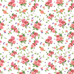 cute seamless texture with roses and butterflies. watercolor pai