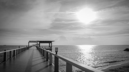 Wooden bridge into the sea. Property is located at the end of th