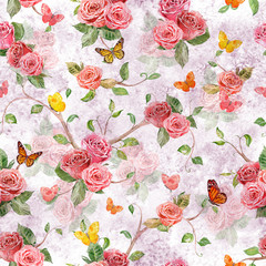 shabby chic seamless texture with lovely roses. watercolor paint