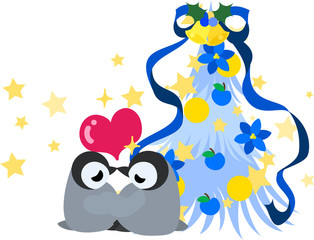 The cute illustration of Christmas and penguins