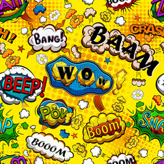 Comic speech bubbles seamless pattern with yellow background illustration