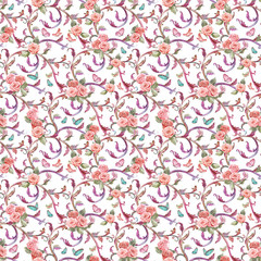 lovely seamless texture with roses and butterflies. watercolor p